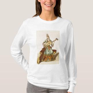 T-shirt Madame de qualité jouant la guitare, plat de mode,