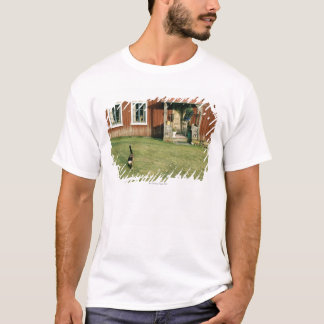 T-shirt Maison rouge usée avec un chat sur la pelouse