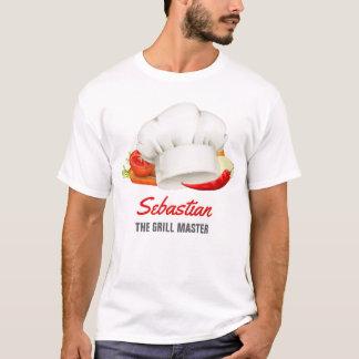 T-shirt Maître personnalisé de gril de cuisine de chef de