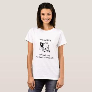 T-shirt Mangeons, minou.  La ponctuation sauve la pièce en