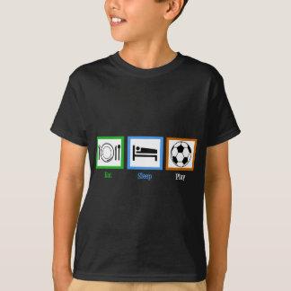 T-shirt Mangez le football de jeu de sommeil
