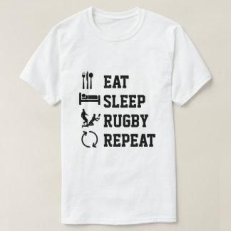 T-shirt Mangez le sport de répétition de rugby de sommeil