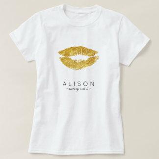 T-shirt Manuscrit nommé de lèvres d'or de maquilleur et de