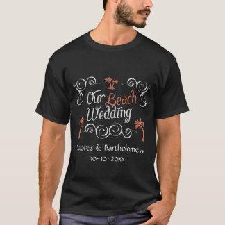 T-shirt Mariage de plage de corail de manuscrit de tableau