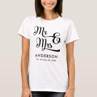 T-shirt Mariage ou M. et Mme d'anniversaire. Votre nom de