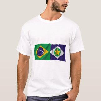 T-shirt Mato Grosso et drapeaux de ondulation du Brésil
