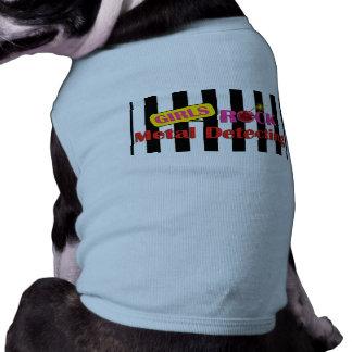T-shirt Métal de roche de filles détectant le chienchien T