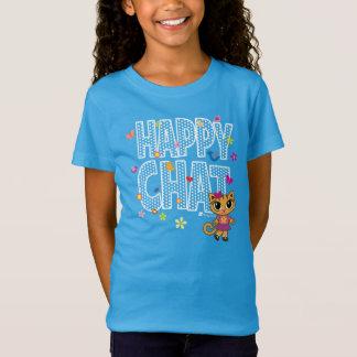 T-shirt mignon de chat de conversation heureux par