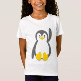 T-shirt mignon de filles de vague de pingouin