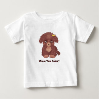 T-shirt mignon de nourrisson de chiot de Brown