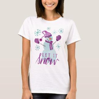 T-shirt Mignon laissez-le neiger bonhomme de neige