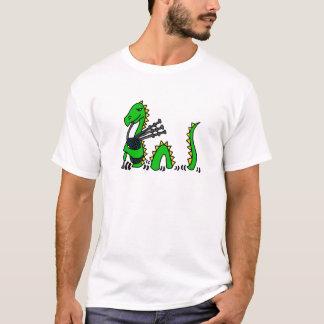 T-shirt Monstre drôle de Loch Ness jouant les cornemuses