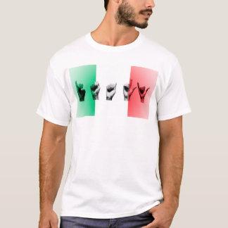 T-shirt Mot Italie au-dessus du drapeau italien
