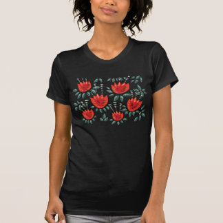 T-shirt Motif floral foncé de tulipe rouge abstraite