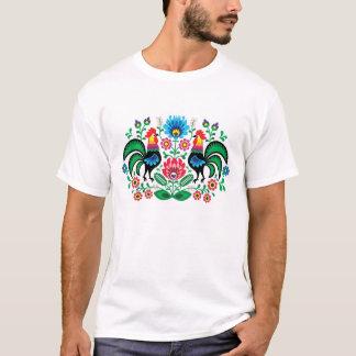T-shirt Motif floral polonais avec des coqs