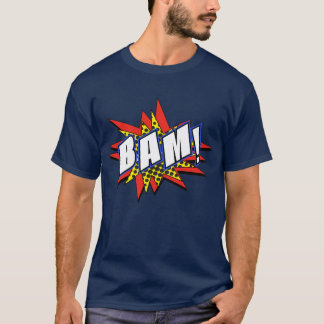 T-shirt Mots comiques d'action de super héros de bam