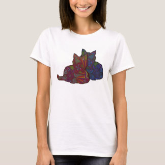 T-shirt moyen de conception graphique du chat des