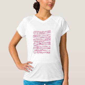 T-shirt Musique de feuille classique rose au néon