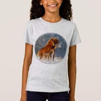 T-Shirt Neige islandaise de jeu de poulain de chevaux
