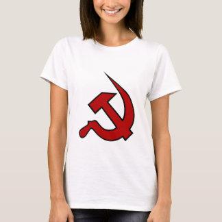 T-shirt Néo- marteau et faucille rouge foncé et noirs sur