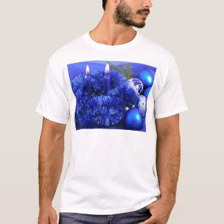 T-shirt Noël bleu ornemente des bougies