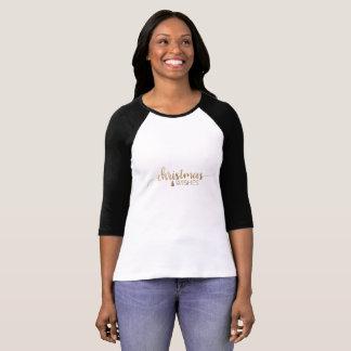 T-shirt Noël simple de calligraphie d'or