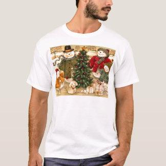 T-shirt Noël vintage, scènes d'hiver