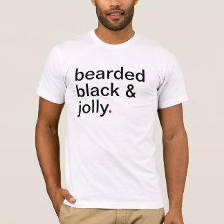 T-shirt noir barbu et très