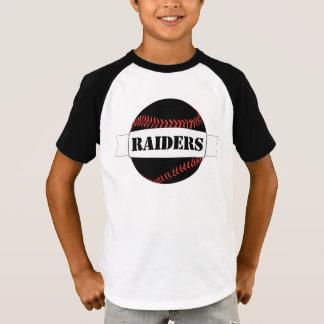 T-shirt noir de garçons de base-ball