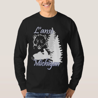 T-shirt Noir de l'ours LS de Snowmobile de L'anse Michigan