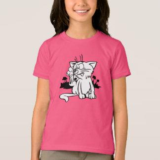 T-shirt noir et blanc de filles de chat