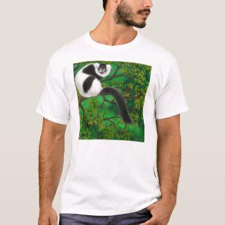 T-shirt noir et blanc de lémur de Ruffed