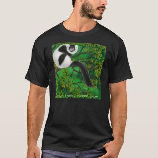 T-shirt noir et blanc d'obscurité de lémur de