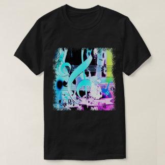 T-shirt Notes musicales et copie de guitare