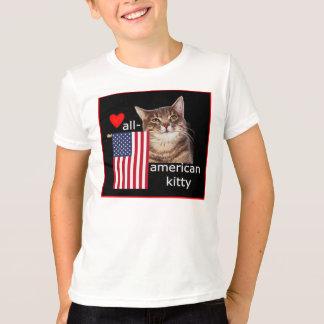 T-shirt Notre All=American Kitty ondule le drapeau !