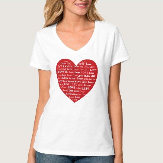 T-shirt Nuage de mot de coeur d'amour, blanc sur