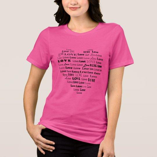 T-shirt Nuage de mot de coeur d'amour dans le noir