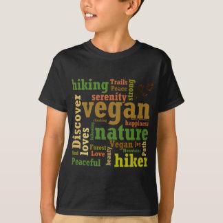 T-shirt Nuage végétalien de mot de randonnée de randonneur