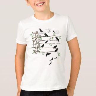 T-shirt Oiseaux de note musicale - noir