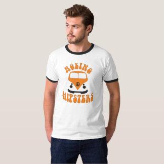 T-shirt orange d'autobus de hippies vieillissants