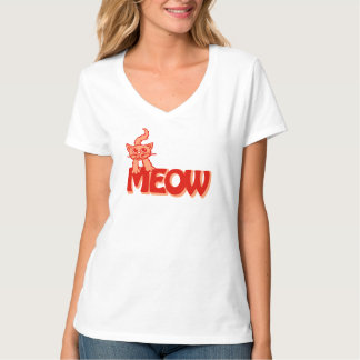 T-shirt orange rouge graphique de chat de Meow