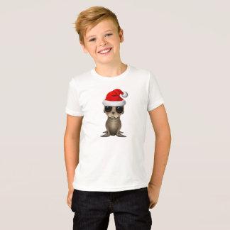 T-shirt Otarie de bébé utilisant un casquette de Père Noël