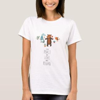 T-shirt Paix, amour, végétalien !