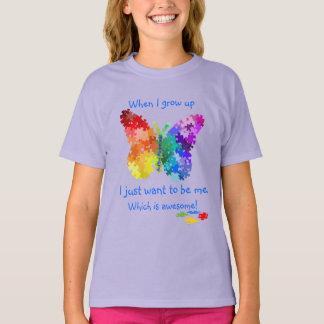 T-shirt Papillon de puzzle d'autisme quand je grandis la