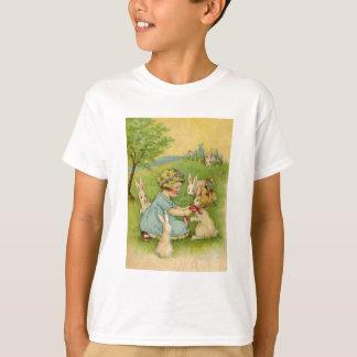 T-shirt Pâques vintage, capot de fille sur le lapin