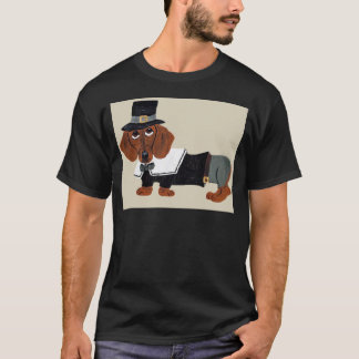T-shirt Pèlerin de Thanksgviving de teckel