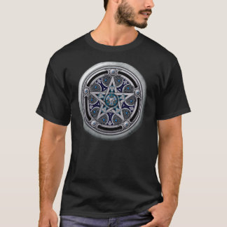 T-shirt Pentagramme païen argenté féminin