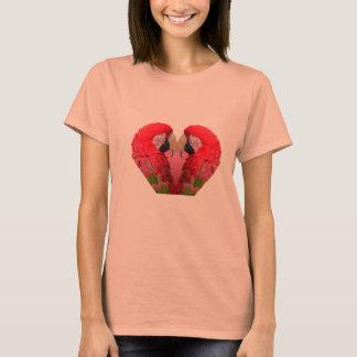 T-shirt Perroquet ou ara lumineux en rouge, vert et rose