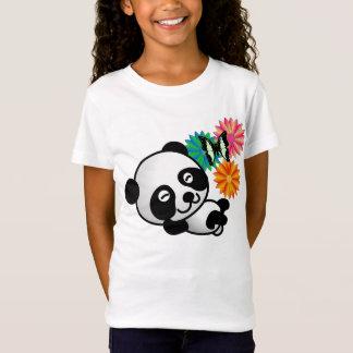 T-Shirt Petit panda - fleurs et papillon