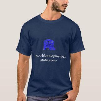 T-shirt Pièce en t bleue de libertaire d'éléphant